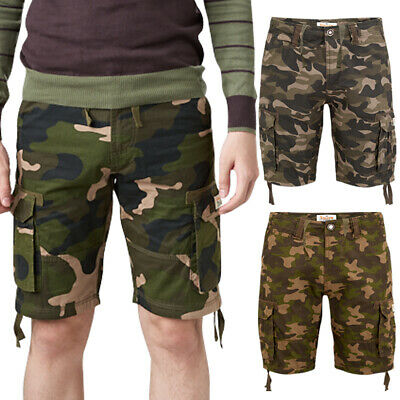Mens Army Cargo Camouflage Shorts Stallion Casual Cotton Camo Combat Chino Pants