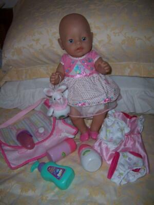 Baby Born Doll Zapf Creations 2013 Drink & Wet Bottle Potty Clothes Nappy Bag