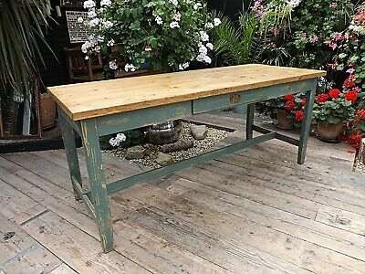 FABULOUS OLD PINE & GREEN/ BLUE PAINTED KITCHEN/ DINING 6ft TABLE - WE DELIVER!