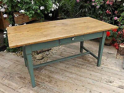 BEAUTIFUL OLD PINE & GREEN/ BLUE PAINTED KITCHEN/ DINING 5.5ft TABLE-WE DELIVER!