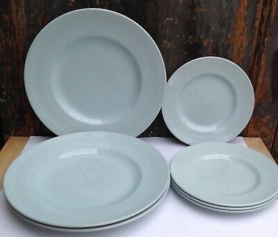 3 Iris Woods ware dinner plates plus 4 small plates pale blue