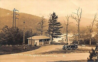 West Baldwin ME Pequaket Lunch Old Car Hiram Falls Real Photo Postcard