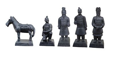 """Chinese Terra Cotta Warrior Set 3.4"""" Terracotta Soldier Carriage Replica Army"""