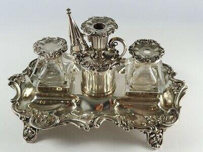 HW & Co Sterling Silver Inkstand with Chamberstick & Snuffer Sheffield 1846