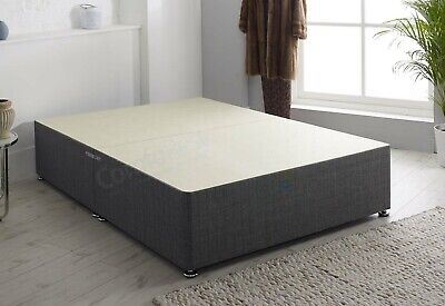 NEW - CHARCOAL FABRIC DIVAN BED BASE , 3ft/4ft/4ft6/5ft/6ft - MADE IN UK
