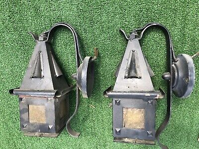 Vintage Architectural Salvage Arts &Crafts House Porch Door Lights Rippled Glass