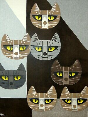 "Japanese Woodblock by Tomoo Inagaki ""Cats' Face (7)"" Limited Edition - Signed"