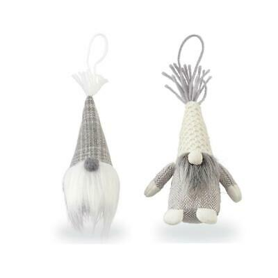 Mud Pie Grey Gnome Faux Fur Furry Beard Ivory Christmas Ornament Set of 2