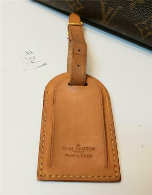 Authentic LOUIS VUITTON Large Leather Luggage ID Tag Name Tag with Strap [#34]