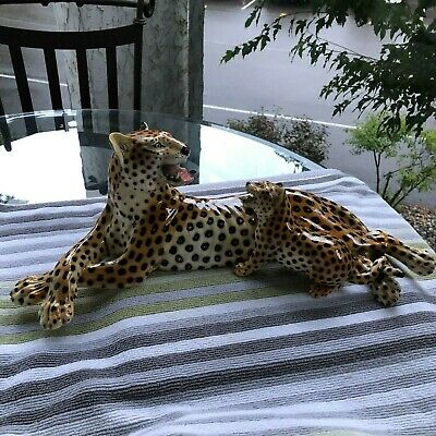 Mid Century Modern..ronzan 755..Hand Painted..leopard & Cub..made In Italy.