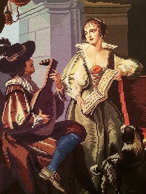 """Large Vintage Completed Needlepoint Canvas Tapestry 21""""x24"""""""