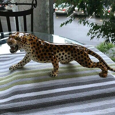 Mid Century Modern..ronzan 385..Hand Painted..roaring Leopard..made In Italy