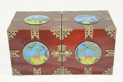 Vtg Twin Cube Rosewood Jewelry Box W/ Brass Accents & Hand Painted Medallions