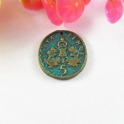 Retro Bronze Coins Shaped Alloy Necklace Pendant Jewelry Accessory Finding 40pcs