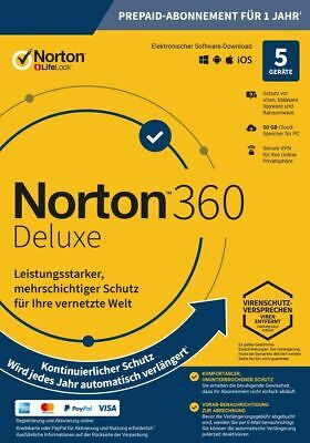 NORTON 360 Deluxe 2019 5 Geräte 5 PC/Mac/Android 2020 DE Internet Security KEY