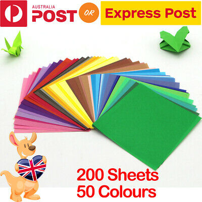 200 Sheets 50 Mixed Colours Origami Square Paper Crafts Folding Single Sided AU