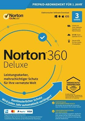 NORTON 360 Deluxe 2020 3 Geräte 3 PC/Mac/Android DE Internet Security 2019 KEY