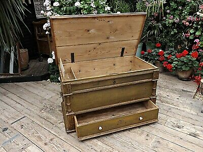 Old Antique Pine/ Painted Green/Mustard Blanket Box/Mule Chest/Trunk-We Deliver!