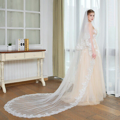 3M 2T Long Cathedral Bridal Wedding Veils with Comb White Ivory Lace Accessories