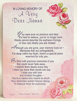 Nanna Grave Cards In Loving Memory Bereavement Graveside Memorial Keepsake Nana