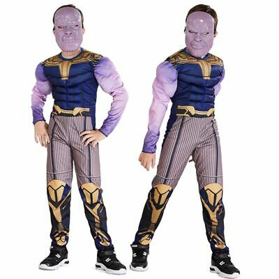 Boys Kid Thanos Muscle Bodysuit Halloween Cosplay Avengers Costume Jumpsuit Mask
