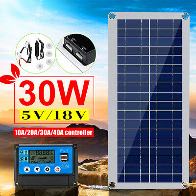 30W 12V Dual USB Flexible Solar Panel For Battery Charge 5V USB Solar Controller