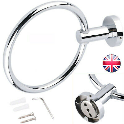 Luxury Chrome Round Hand Towel Ring Holder Wall Mounted For Kitchen Bathroom