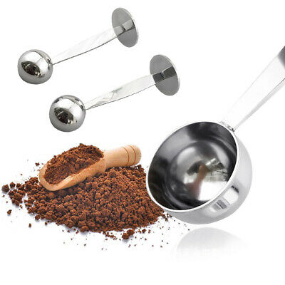 2 in 1 Stainless Steel Espresso Coffee Tamper Measuring Spoon Scoop with Stand W