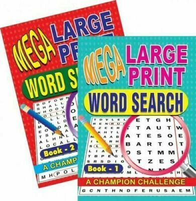 2 x A4 Mega Large Print Word Search Puzzle Book 129 Puzzles each book book 1&2