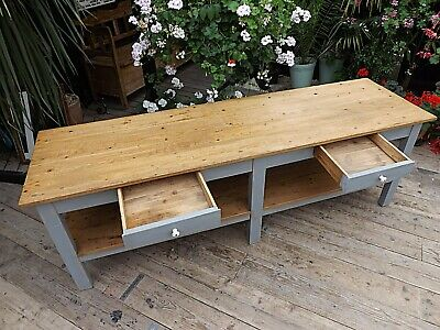 WOW! OLD PINE/ GREY BLUE PAINTED 2.4m KITCHEN ISLAND/ DINING TABLE - WE DELIVER!