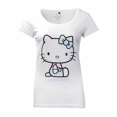 Womens Hello Kitty White Fitted T-Shirt - Anime Cute Retro Tee