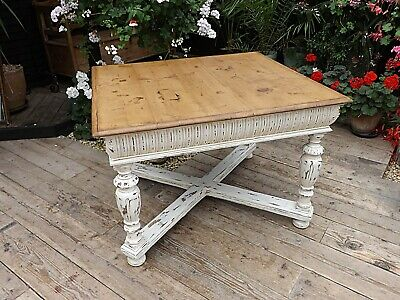 Beautiful! Old Pine/ Painted 'Gustavian' Kitchen / Dining Table - We Deliver!