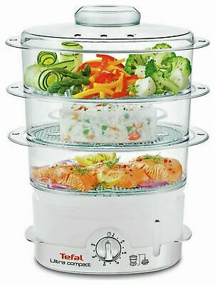 Tefal VC100665 Ultra Compact 3 Tier Steamer 9 Litre White 2 Year Guarantee
