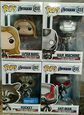 Funko Pop Lot Captain Marvel, War Machine, Rocket and Ant Man