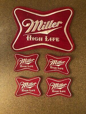 Set of 4 Vintage Original Miller High Life Beer Route Drivers Shirt Patches