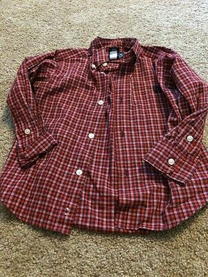 Chaps Boys Red Blue Checked Button Down Top 2t