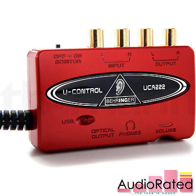 Behringer UCA222 U-Control USB Audio Interface Ultra-Low Latency 2 In/2 Out