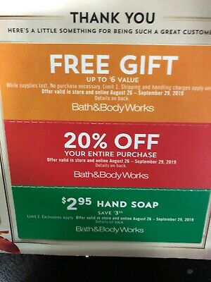 Bath & Body Works Coupons 20% Off Purchase & Fragrance exp August 25, 2019