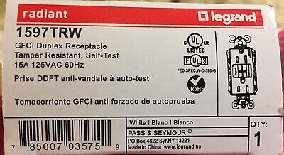 (1) Legrand Radiant 1597TRW White Tamper-Resistant 15A Self-Test GFCI Outlet