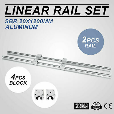 2xSBR20-1200mm Linear Rail Shaft Rod +4SBR20 Block 20mm Aluminium Routers