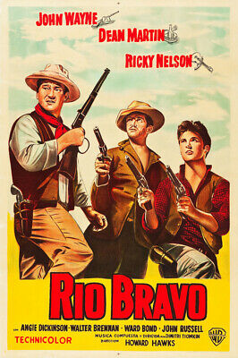 1959 RIO BRAVO VINTAGE WESTERN MOVIE POSTER Art Fabric HD PRINT Multi Sizes