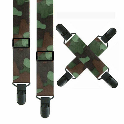 *Kids Snow Pant Suspenders & Mitten Clips - Camouflage -  3 Sizes - Non Metal