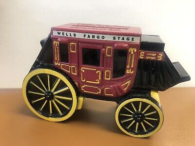 Wells Fargo Banks Commemorative 1998 Metal Stagecoach Coin Bank WITH KEY