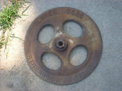 Stonehouse Cast Iron BASE Sign Embossed Original Lollipop Sign, DENVER COLO RARE