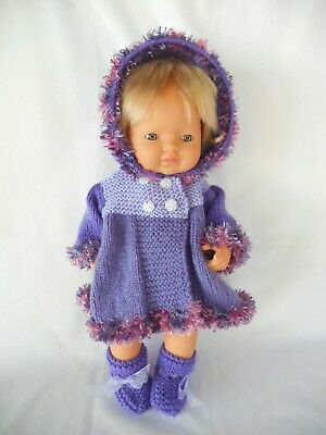 Hand knitted dolls clothes (Winter coat, booties) fit 38cm Miniland doll
