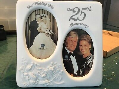 Russ Berrie 25th Anniversary Picture Frame 15955 Wedding Photo Frame Porcelain