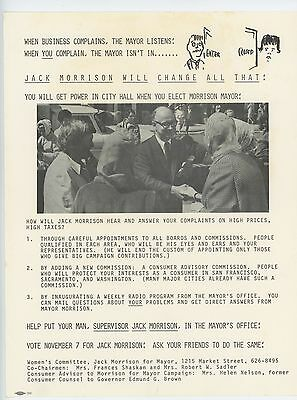 "Elect Jack Morrison Mayor 1967 Summer of Love San Francisco 8"" x 11"" Handbill"