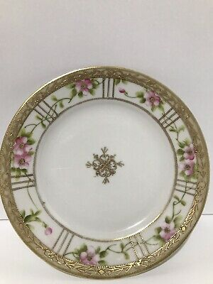 Vintage Handpainted Nippon Pansy with Gold Gilt Moriage Saucer No Chips/Cracks