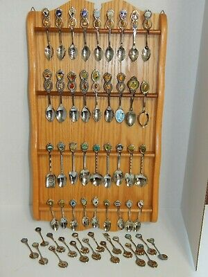 Spoon Holder Wall Rack with 54 Spoons Wooden 36 Slot Souvenir Spoon Rack