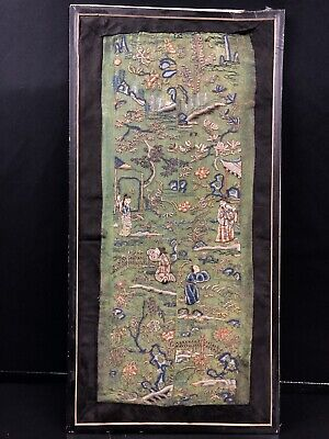 19th Century chinese Antique Hand-Made Silk On Silk embroidery Panal No Reserve